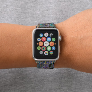 Correa Para Apple Watch Mandala púrpura del oro y del trullo