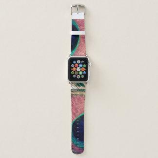 Correa Para Apple Watch Moda rosada de la pluma del pavo real