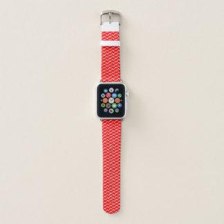 Correa Para Apple Watch Modelo cruzado rojo y blanco de Chevron