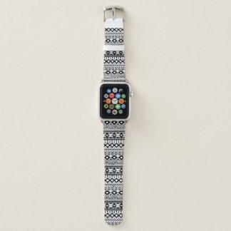 Correa Para Apple Watch Modelo geométrico azteca blanco y negro del vector