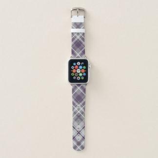 Correa Para Apple Watch modelo gris de la tela escocesa de la lila púrpura