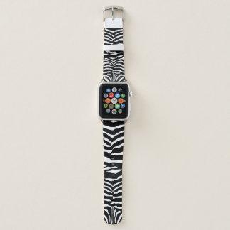 Correa Para Apple Watch Modelo rayado de la cebra blanco y negro