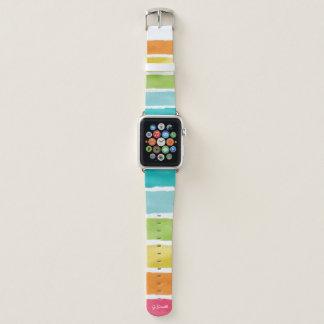 Correa Para Apple Watch Monograma. Colores lindos del arco iris de la