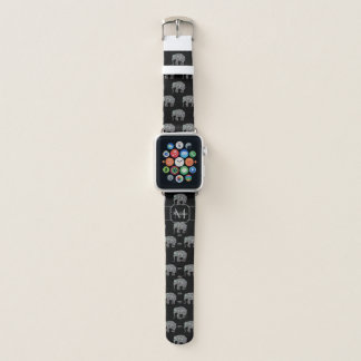 Correa Para Apple Watch Monograma de plata colorido brillante del elefante
