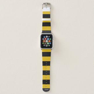 Correa Para Apple Watch Monograma. Rayas negras y amarillas de la abeja