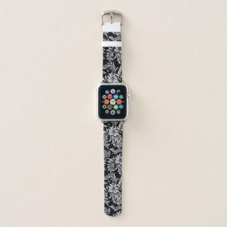 Correa Para Apple Watch Negro floral de la hawaiana hawaiana del hibisco