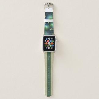 Correa Para Apple Watch Nombre verde beige del fractal de la turquesa de