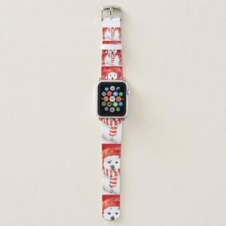 Correa Para Apple Watch oso polar en un casquillo de santa - blanco de los