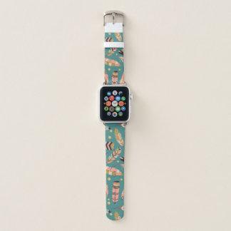 Correa Para Apple Watch Plumas de Boho en modelo verde azulado