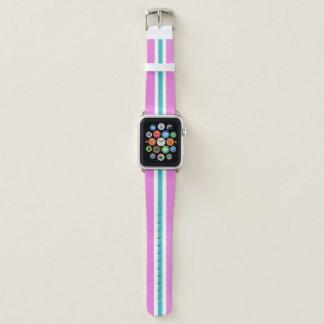 Correa Para Apple Watch Raya que compite con blanca y rosada de los azules