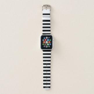 Correa Para Apple Watch Rayado blanco y negro del monograma de encargo