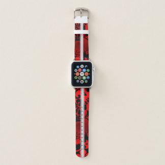 Correa Para Apple Watch Rojo hawaiano de la tabla hawaiana del hibisco de