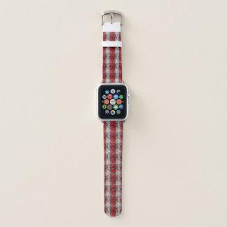 Correa Para Apple Watch Rojo y rayas texturizadas gris