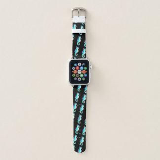 Correa Para Apple Watch Seahorse verde azulado en negro