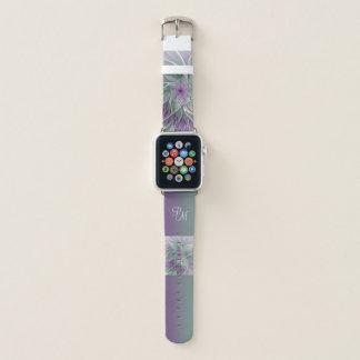 Correa Para Apple Watch Sueño de la flor del monograma, verde púrpura