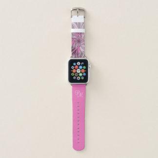 Correa Para Apple Watch Sueño rosado de la flor del fractal, monograma