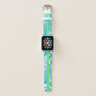 Correa Para Apple Watch Tabla hawaiana hawaiana Turq del hibisco de la