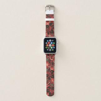 Correa Para Apple Watch Tela escocesa hawaiana del rojo del hibisco de