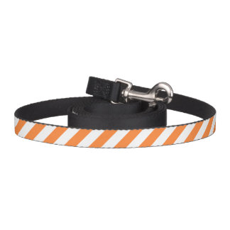 Correa Para Mascotas Modelo diagonal del naranja y blanco de las rayas