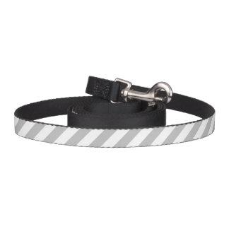 Correa Para Mascotas Modelo diagonal gris y blanco de las rayas