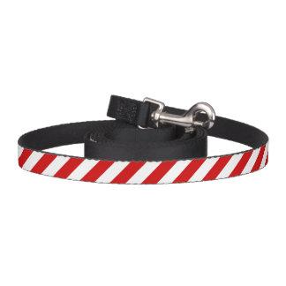 Correa Para Mascotas Modelo diagonal rojo y blanco de las rayas