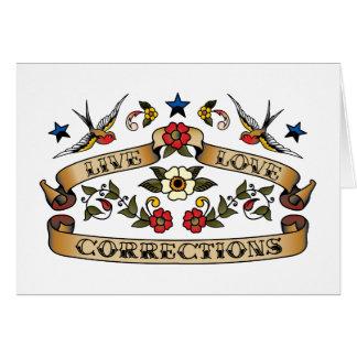 Correcciones vivas del amor tarjeta de felicitación