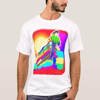 Corredor colorido del barril camiseta
