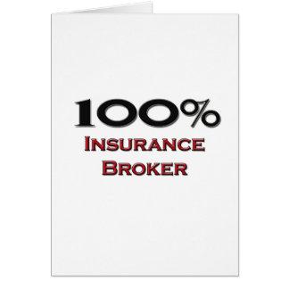 Corredor de seguros del 100 por ciento tarjeta de felicitación