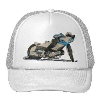 Corredor plano azul de la motocicleta de la pista gorro de camionero