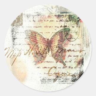 Correo de la mariposa del vintage pegatina redonda