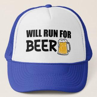 Correrá para la cerveza divertida gorra de camionero