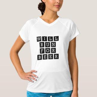 Correrá para la tipografía divertida de la cerveza camiseta