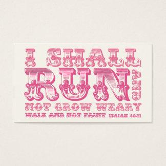 Correré y no creceré tipografía rosada cansada tarjeta de negocios