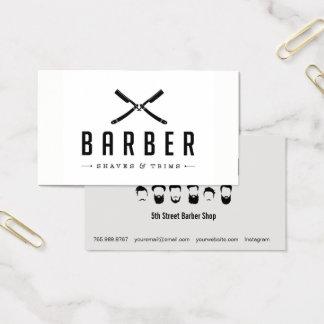 Corte de la peluquería de caballeros y tarjeta de