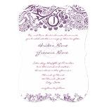 Corte los bodas púrpuras del monograma con tintas invitación 12,7 x 17,8 cm