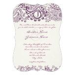 Corte los bodas púrpuras del monograma con tintas  comunicados personales