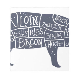 Cortes del cerdo americanos, vintage tipográfico bloc de notas