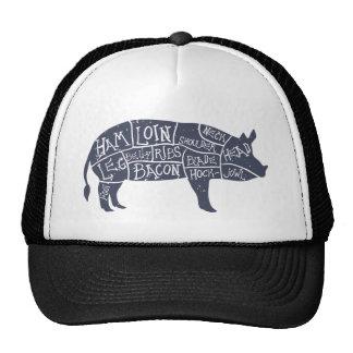 Cortes del cerdo americanos, vintage tipográfico gorras de camionero