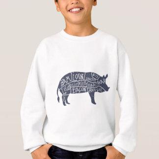 Cortes del cerdo americanos, vintage tipográfico sudadera