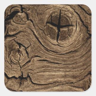 Corteza de madera pegatina cuadrada