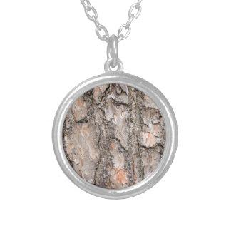 Corteza del árbol de pino escocés como fondo collar plateado