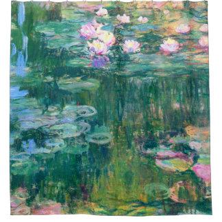 Cortina De Baño Bella arte de Claude Monet de los lirios de agua