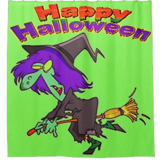 Cortina De Baño Bruja del vuelo del feliz Halloween