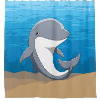 Cortina De Baño Delfín de Bottlenose feliz lindo en el océano