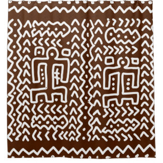 Cortina De Baño Diseño primitivo tribal de Brown