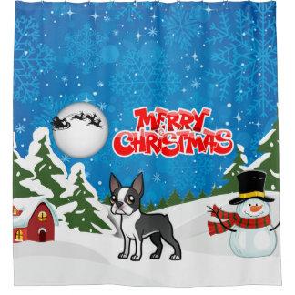 Cortina De Baño Felices Navidad Boston Terrier con un muñeco de