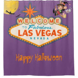 Cortina De Baño Feliz Halloween Las Vegas que vuela a la bruja