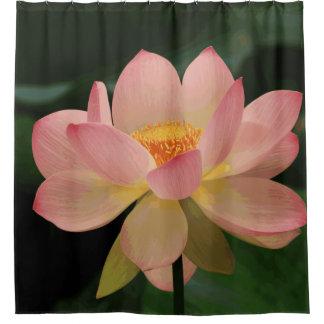 Cortina De Baño Flor de Lotus tropical verde enorme del rosa de