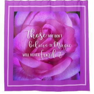 """Cortina De Baño Foto color de rosa rosada púrpura del primer"""" de"""