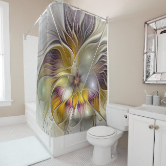 Cortina De Baño Fractal moderno de la flor colorida abstracta de